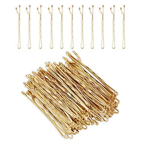 Hedmedum 100 Stück Haar Bobby Pins Gold Haarnadeln Blond Haarklammern mit Aufbewahrungs box (5 cm)