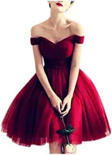 XJLY Women's Off The Shoulder Tulle V Neck A-line Short Graduation Dressrom Gowns