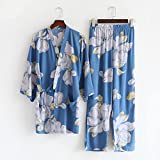 XFLOWR Comfort Nature Ropa de Dormir otoño Pijamas de algodón para Mujer Ropa de Dormir Fina Traje de Mujer Suelta cómoda Ropa de casa Traje de Dos Piezas L Azul