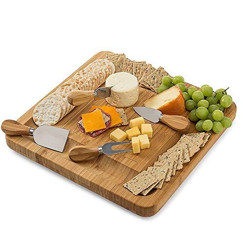 ALIHONG Planche à Fromage Set Planche à découper carrée en Bambou Planche à Pizza avec 4 Couteaux à Fromage pour Rassemblement d'amis, dîner d'entreprise, Loisirs et Divertissement