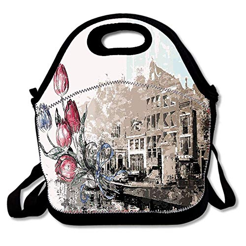 N / A Stile Pennello Vecchio Stile con Amsterdam Street e Tulip Bouquet Immagine torbida Pranzo al Sacco Pranzo al Sacco in Neoprene Borsa Termica Borsa Termica per Ufficio Scolastico di Viaggio