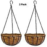 Sotoboo creativo stile francese elegante in fibra di cocco a forma di vaso basket indoor/outdoor da appendere vasi piante del gancio con catena ganci per decorazione casa giardino balcone, marrone