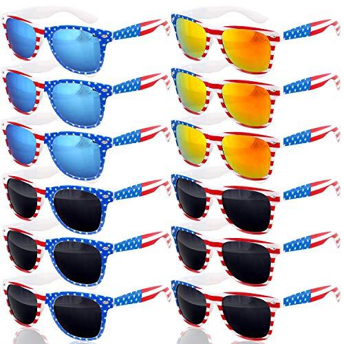 12 Pairs American Flag Sunglasses, UV400 Patriotic Sunglasses Decor Party Accessories for Women Men