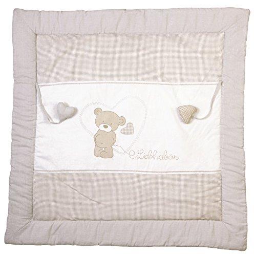 roba Spiel- & Krabbeldecke 'Liebhabär', Baby's gepolsterte Spielunterlage / Laufgittereinlage 100x100cm, 100% Baumwolle, inkl. Baby-Spielzeug