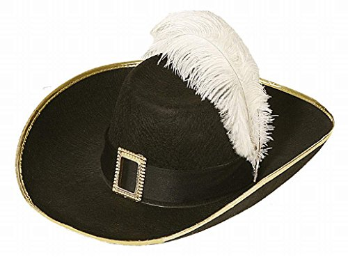 Faschingshut Musketierhut schwarz mit Schnalle u. Feder (Large)