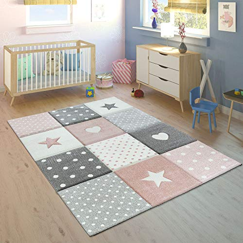 Children's Rug Pastel Colours Checked Dots Hearts Stars White Grey Pink, Size:120x170 cm