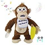 Houwsbaby Naughty Crying Monkey Electric Plush Toy Don't take his Banana! Musical Interactive Animated Stuffed Animal Funny Toy Gift for Kids Babies Toddlers, Brown, 11''