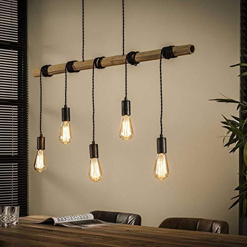 Beauty.Scouts Hängelampe Deckenlampe Novara Bambusrohr Silber Deckenleuchte 98x6x150cm (B/T/H) Industrial Style Wohnzimemerlampe Esszimmerlampe Leuchte