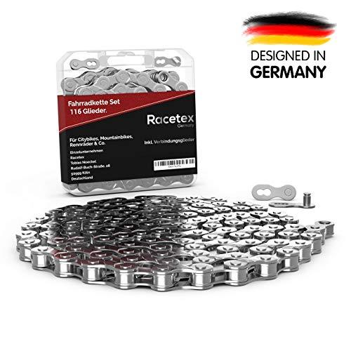 Racetex - Catena per bicicletta, 116 maglie, 6/7/8 scomparti, in acciaio inox robusto e resistente, catena BMX 1/2 x 3/32 pollici, già oliata