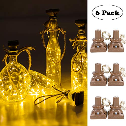 VOOKRY Solar Powered Wine Bottle Lights, 6 Pack 20 LED Waterproof Outdoor Solar Fairy String Cork Lights for Wedding Christmas,Holiday, Garden, Patio Tabletop Decor (Warm White)
