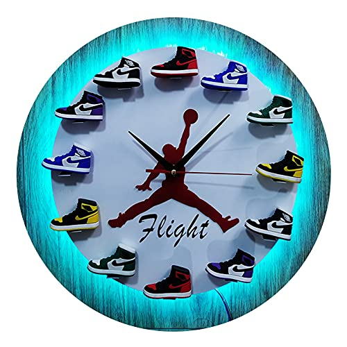 XIKADAN Reloj de baloncesto creativo 3d zapatillas deportivas molde zapatos pequeños tendencia reloj de pared blanco para regalo novio, sala de estar, oficina, blanco