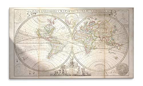 Giallobus - Cuadro - El Nuevo y Correcto Mapa Mundial de Vintage - Impresión sobre Vidrio acrílico de plexiglás - Listo para Colgar - Varios tamaños - 140x80 cm