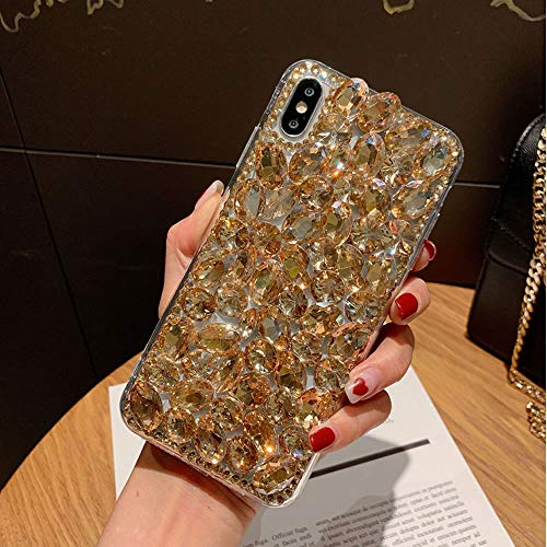 Miagon Glänzend Hülle für Huawei P40 Lite,3D Handschlaufe Glitzer Bling Strass Hülle Diamant Transparent Handyhülle Bumper Case Tasche Schutzhülle,Gold