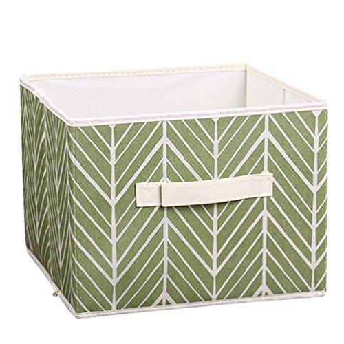 Moorui Offene Faltbarer Aufbewahrungsbox Kleidung Kisten Aufbewahrungskisten Korb Aufbewahrung Grüne Blätter 28 * 28 * 22 cm