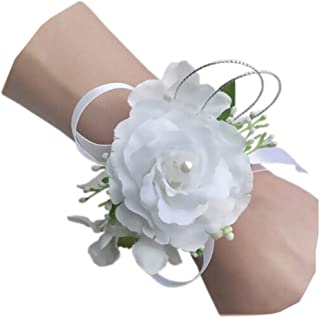 Arlai Set of 2,Wrist Corsage Wristband Roses Wrist Corsage for Prom, Party, Wedding White