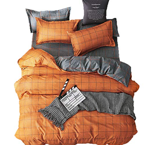 Loussiesd Check Duvet Cover Set Single with Pillow Cases,Reversible Orange and Grey Check Bedding sets with Hidden Zipper Closure,Soft Comforter Microfiber