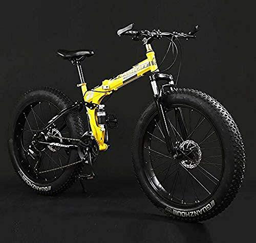 URPRU Bicicleta Plegable de Bicicleta de montaña Bicicletas de MTB de Doble suspensión Fat Tire Cuadro de Acero con Alto Contenido de Carbono Freno de Doble Disco B 24 Inch 7 Speed