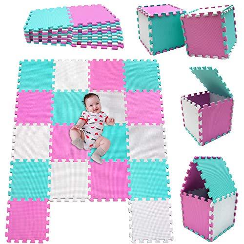 MSHEN18 Piezas Alfombra Puzzle Bebe con Certificado CE y certificación EVA | Puzzle Suelo Bebe | Puede ser Lavado Goma eva,Tamaño 1.62 Cuadrado,blanco-rosa-verde-010308g18