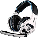 SADES 7.1 Surround Sound Pro USB PC Stereo Noise-Canceling Gaming Headset with High Sensitivity Mic Volume-Control Blue LED lighting, White (SA903)