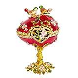 QIFU - Joyero de Estilo Vintage Pintado a Mano con Esmalte Rico y Brillantes Diamantes de imitación, decoración del hogar