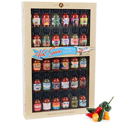 Flavors of the World Hot Sauce Sampler Gift Set, Inspired by International Hot Sauce Flavors, Set of 30