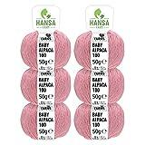 100% lana de alpaca en más de 50 colores (no pica) - Set de 300g (6x 50g) - Suave hilo baby de alpaca para punto y ganchillo en 6 grosores - rosa perlado (heather)