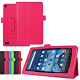 Luxury Folio Stand PU Leather Case Cover for Amazon Kindle New Fire 7 2015 HD7 SV98LN 7' (5th Generation, 2015 Release) (Peach Red)