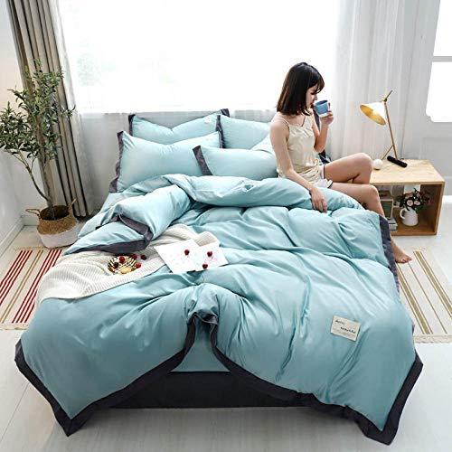 juego de edredón polar doble,Nordic Feng Shui Wash Silk Skin y cómodo kit de ropa de cama de cuatro piezas es manga de una sola almohada estudiante dormitorio anti-fruta anti-arrugas-Esconder_1,8 m d