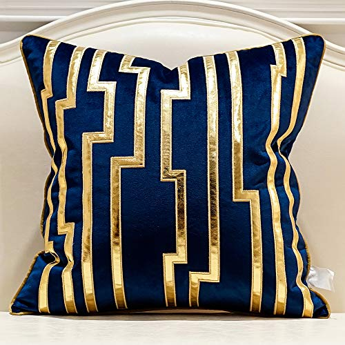 Avigers 20 x 20 Inches Navy Blue Gold Leather Striped Cushion Cases European Throw Pillow Covers Decorative Pillows for Couch Living Room Bedroom Car 50 x 50cm