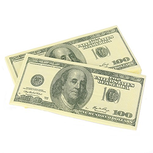 Warmtree $100 Dollars Bill Funny Money Napkin,40 Count (Pack of 4)