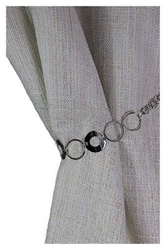 Consept Raffhalter Kettenraffhalter Ringe Gardinenhalter Vorhanghalter Gardinenschmuck Raffhalter zum Zusammenraffen Deko - Kette Geschenk Idee Metall Spannweite ca.65 cm