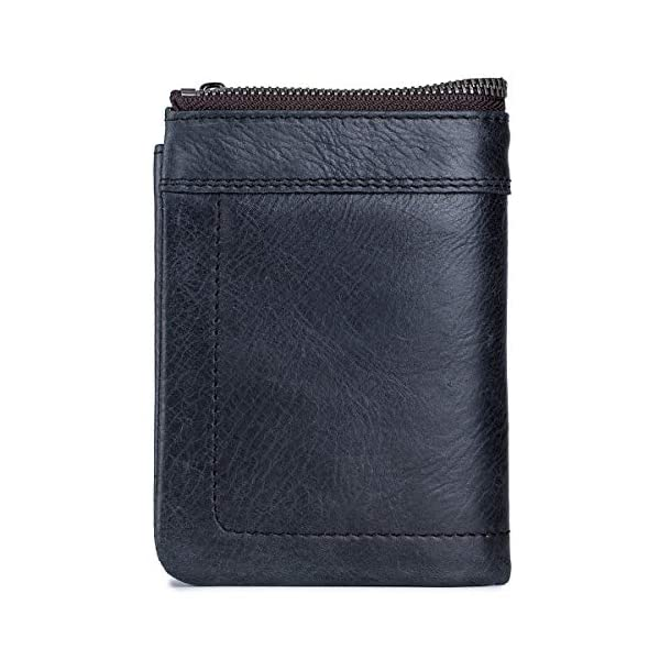 BULLCAPTAIN Rfid Antimagnetic Genuine Leather Mens Wallet with Detachable Coin Purse Bifold Wallet for Credit Cards QB-051 3