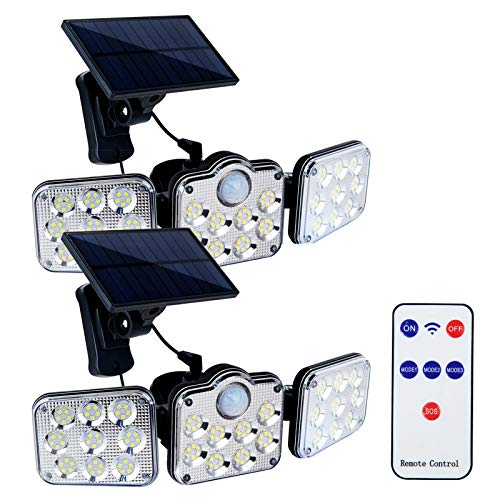 3 Heads Solar Lights Outdoor Separate Motion Sensor, Adjustable Solar Flood Lights Outdoor Motion Sensor, 1000lm 7500k IP65 Waterproof, Security Lights Motion Outdoor, Garage Wall Light