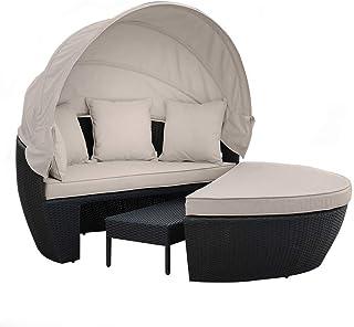 Black Outdoor Furniture PE Wicker Day Bed Sun Lounge Sofa Rattan Garden Setting