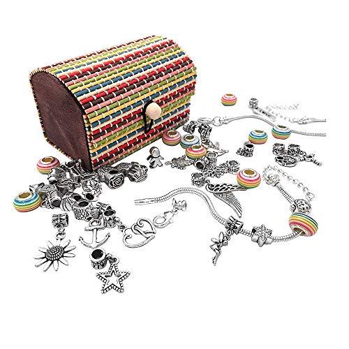 ONEVER Juego de fabricación de Pulseras con dijes para niñas, Kits de fabricación de Joyas niñas, Bonitos Regalos para niñas