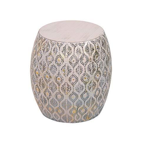 Tuoni Modello Lesha Tavolino da caffè in Metallo con Decorazioni Rosa e Oro, altezza 43,5 cm