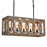 Farmhouse Wooden Chandeliers for Dining Rooms, 5-Light Rustic Kitchen Island Lighting, Wood Rectangular Chandeliers 30' Length, Pool Table Light Fixture, Country Chic Ceiling Pendant Lighting