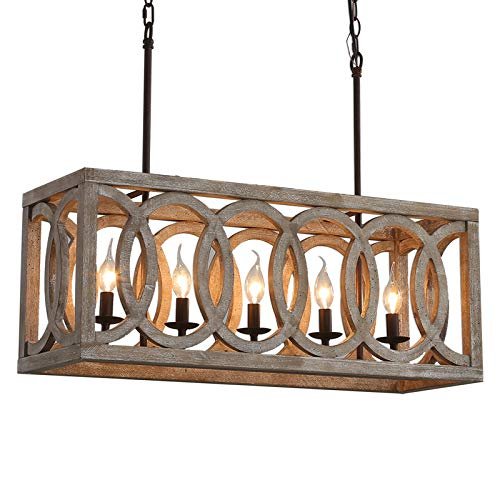 """Farmhouse Wooden Chandeliers for Dining Rooms, 5-Light Rustic Kitchen Island Lighting, Wood Rectangular Chandeliers 30"""" Length, Pool Table Light Fixture, Country Chic Ceiling Pendant Lighting"""
