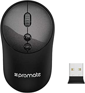 Promate 2.4Ghz Wireless Mouse with USB Adapter One-Touch Show Desktop for Windows, Mac, CLIX-2-Black
