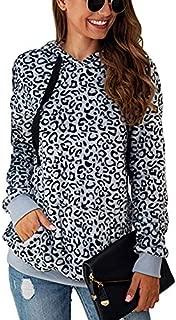 LEANI Women's Long Sleeve Leopard Sweatshirts Fleece Hoodies Pullover Winter Pocketed Outwear Coat