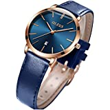 OLEVS Women's Watches for Ladies Female Wrist Watch Navy Blue Dial Leather Band Waterproof Thin Minimalist Fashion Casual Simple Dress Quartz Analog Classic Gifts with Date Calendar Rose Gold