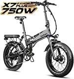 eAhora X7 Plus 750W Fat Tire Folding Electric Bike Full Suspension 30Mph Hydraulic Brakes 48V Electric Bikes for Adults 20'' Electric Bicycle Cruise Control Power Regeneration System 8 Speed