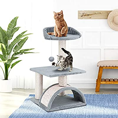ScratchMe Tree Condo with Scratching Post, Cat Tower Pet Play House with Toy,24.4 inch, Grey