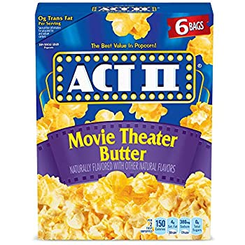 Act II Popcorn Movie Theater Butter 2.75 Ounce Bags 6-Count Pack of 6