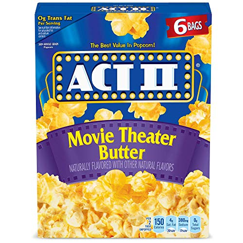 Act II Popcorn, Movie Theater Butter, 2.75 Ounce Bags, 6-Count, Pack of 6