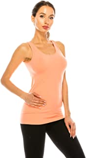 Basic Seamless Long Camisole Tanktop by Shycloset - Soft Stretch Long Spaghetti Strap One Size Made in USA