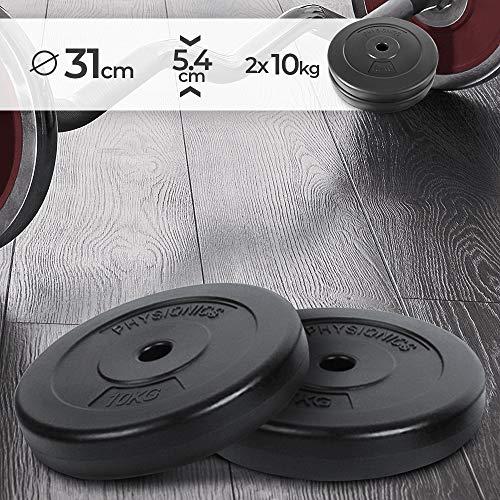 Dischi Pesi - Set di 2, 2 x 10 kg, Foro Ø 27mm, Rivestiti in Plastica, per Manubri e Bilancieri - Piastre Palestra, Fitness, Allenamento, Body Building