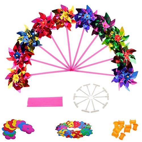MLFL 10 unids de Molino de Viento plástico Molino de Viento Viento Spinner niños Juguete jardín césped Fiesta decoración de Juguete Regalo para niños niñas bebé