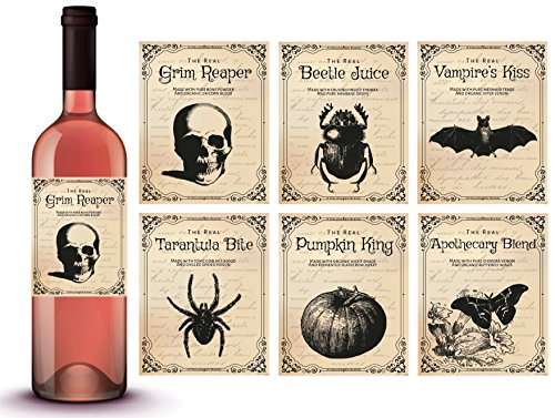 Vintage Halloween Wine Bottle Stickers | Scary Halloween Party Supplies and Decorations