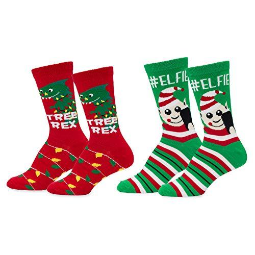 Mens & Womens Fun Novelty Holiday Christmas Hanukkah Socks- One Size Fits Most-Christmas 2 PK Crews-#Elfie/Tree Rex